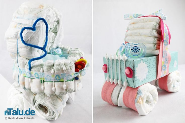 Windelgeschenke zur Geburt werden immer beliebter. Wir zeigen Ihnen, wie Sie einen Windelwagen selber basteln können. Hier sind 2 einfache Anleitungen.