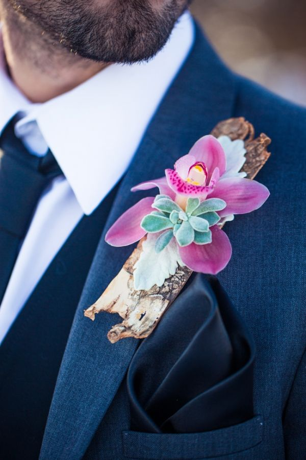 orchid, succulent, and bark boutonniere // photo by Just For You Photography