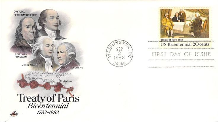 1983 Treaty of Paris Hand Colored Art Craft First Day Cover