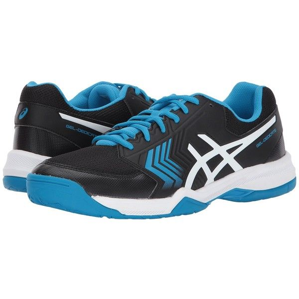 ASICS Gel-Dedicate 5 (Black/Hawaiian Surf/White) Men's Tennis Shoes ($70) ❤ liked on Polyvore featuring men's fashion, men's shoes, men's sneakers, mens black and white sneakers, mens white sneakers, mens black sneakers, mens tennis shoes and mens lace up shoes