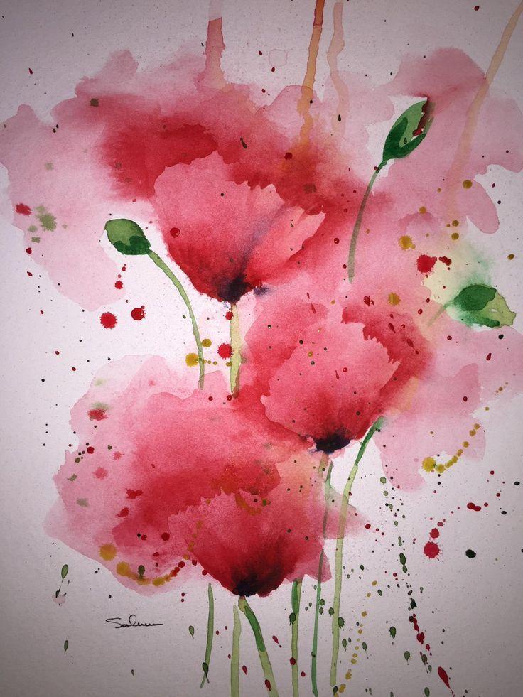 Michael Salmon Mohnblumen Aquarell Mohnblumen Kunst Malerei Lose Blumen Aquarell Mohnblumen Blumen Aquarell Blumen Malen