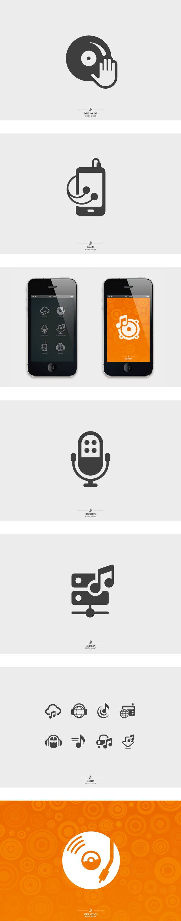 Icon designs of popular music actions - by Tom Nulens / Sodafish