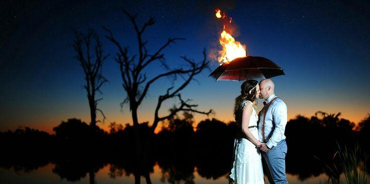 Wedding couple photo shoot - Umbrella on fire!!