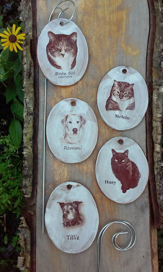 Pet Grave Marker Custom Image by MalloryvillePottery on Etsy