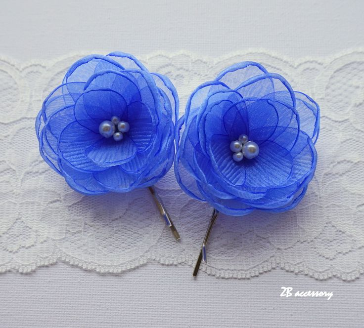 Cornflower blue hair flowers, small organza flower, bridal hair clip, bridesmaids shoe clips, something blue shoe clips, sew on ornaments by ZBaccessory on Etsy