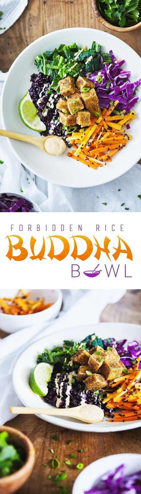 An Asian-inspired Buddha Bowl featuring forbidden rice, crispy spiced tofu and a creamy coconut almond lime dressing. This recipe includes a technique for making the crispiest tofu - without a deep fryer! Vegan & Gluten Free.