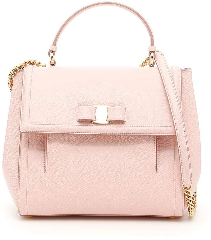 5d07f18293f2 Grain Calfskin Carrie  Bag. Salvatore Ferragamo grain leather bag with top  handle and chain strap with leather insert. Front gusseted pocket