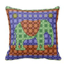 Colorful Ornate Elephant Pattern Pillows