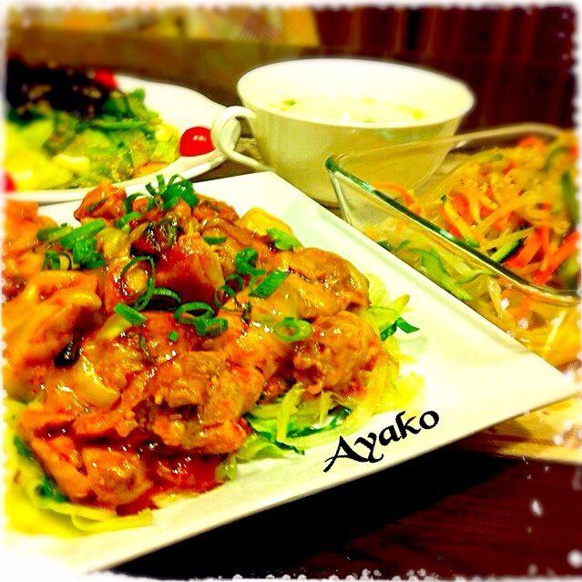 今日は、韓国料理です♡ ブルダックは、韓国風辛口チキンです♪ ご飯のおかずにも、お酒のおつまみにも、後引く味ですよぉ〜(≧∇≦) - 202件のもぐもぐ - チーズブルダック(韓国風辛口チキン)、もやしのナムル、チョレギサラダ、コムタンスープ by ayako1015