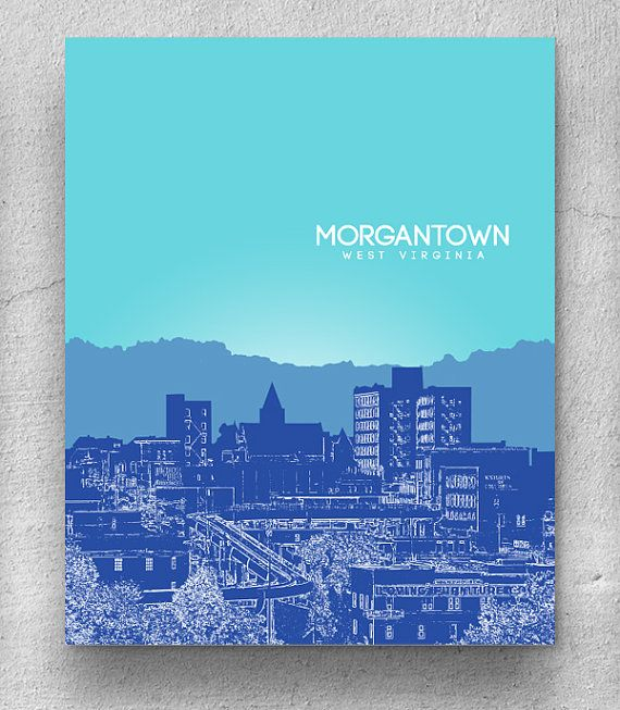 morgantown west virginia skyline print home decor art poster unique housewarming gift any - Unique House Gifts