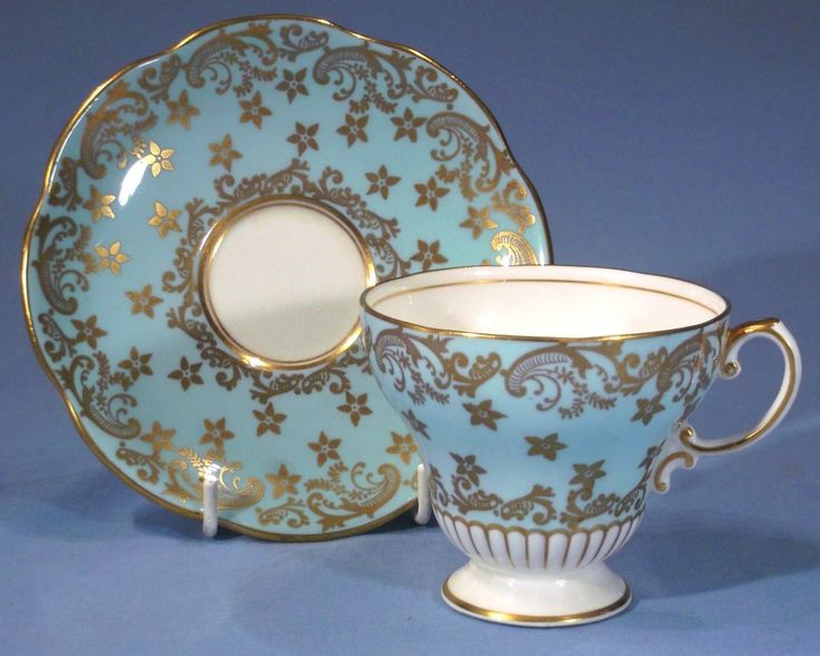 E B Foley Blue and Gold Vintage Bone China Tea Cup and Saucer