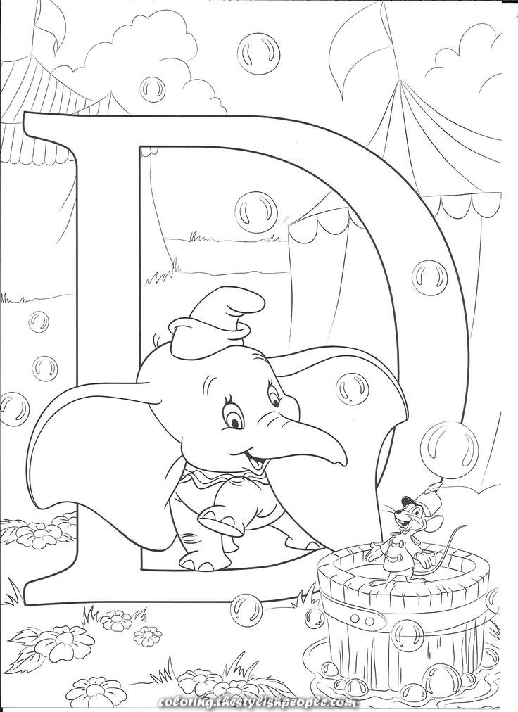 Great D For Dumbo Disney Coloring Pages Printables Abc Coloring Pages Disney Coloring Sheets