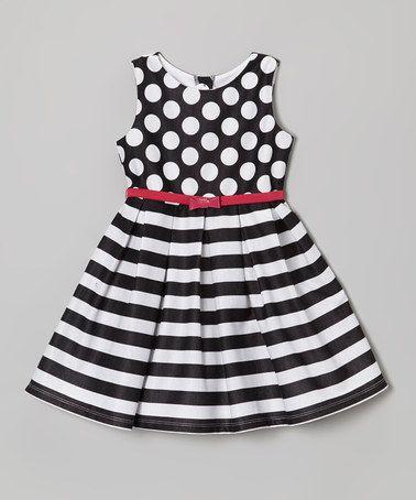 Another great find on #zulily! Black & White Polka Dot Stripe Dress - Toddler & Girls #zulilyfinds