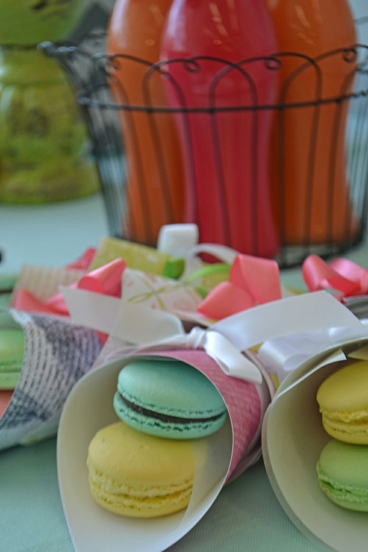 Pretty pastel macarons - ideal for a Bridal Shower or for Mother's Day. From Bake Sale.