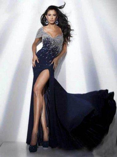 Off-The-Shoulder Beads Dark Navy Side Slit With One Short Sleeve Formal Dresses