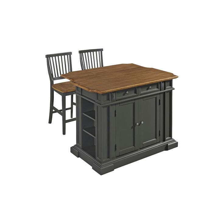Americana Kitchen Island with 2 Stools - Gray - Home Styles