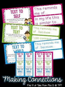 Teach the skill of Making Connections with this set.  Includes;  1) A poster for each connection  Text to Text Text to Self Text to World  2) Thinking stems for each connection  3) Bookmarks