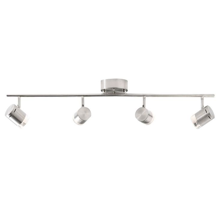 style selections leyden 4light 2976in brushed nickel dimmable led fixed track light track - Track Lighting Lowes
