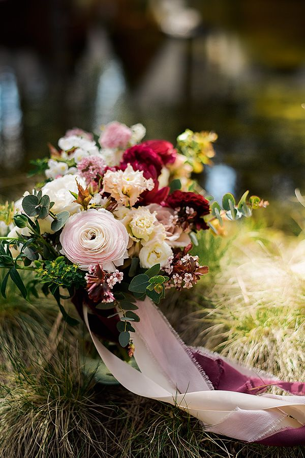 Wedding bouquet by Seventh Stem. Spring wedding at FivePine Lodge in Sisters, Oregon. Kimberly Kay Photography.