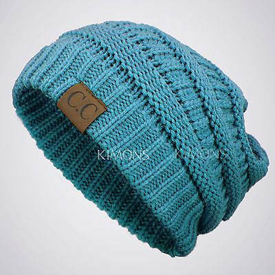 Bubble Knit Slouchy Baggy Beanie Oversize Winter Hat Ski Slouchy Cap Skull Women