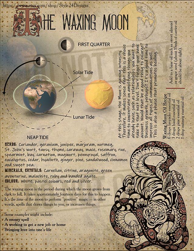 Book Of Shadows Printable Lunar Cycle Bos Sheets Moon Phases