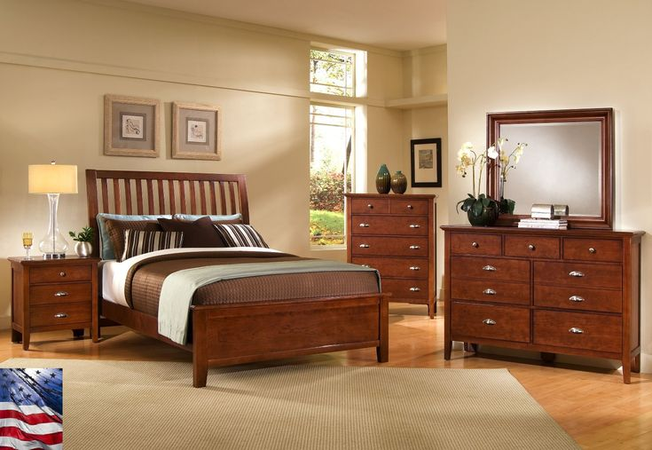 Wood Decorating Ideas for Creative Beige Themed Bedroom with Vintage Dark Brown Wood Bed Frame that have Brown Wood Bedside Table on the Wood Flooring also Classic Brown Wood Vanity that have Drawers Space complete with Wall Mirror