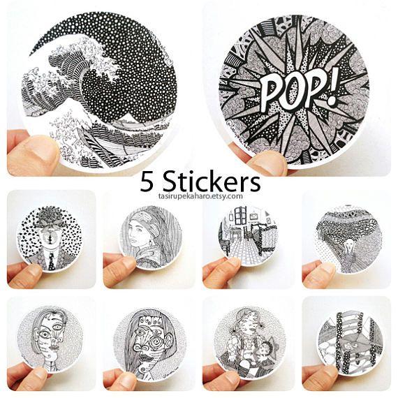 Pack 5 Pegatinas. Vinilo. Adhesivo. Etiquetas. Pinturas famosas. Arte. Zentangle. Coche. Macbook. Blanco y negro. © ENVÍO GRATIS