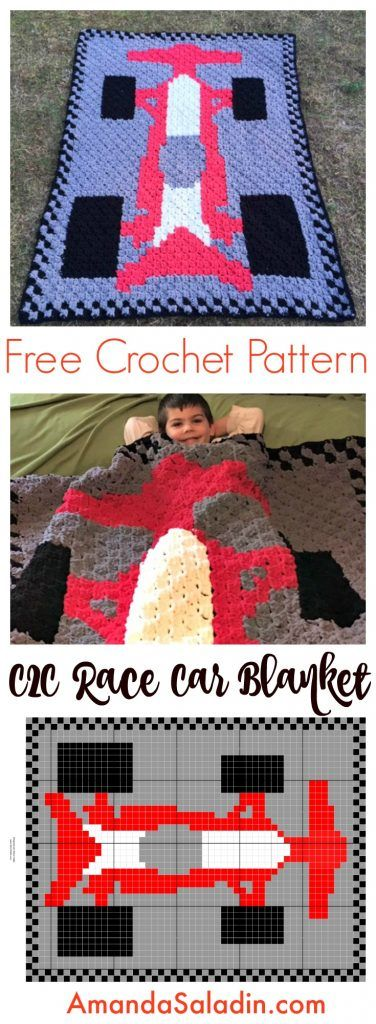 Free crochet pattern: C2C (corner-to-corner) Race Car Blanket by Amanda Saladin