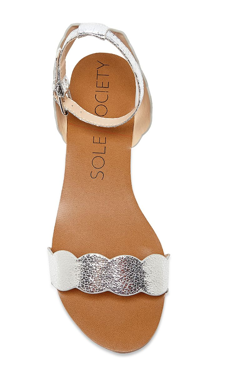 Metallic silver sandal with scalloped detailing | Sole Society Odette