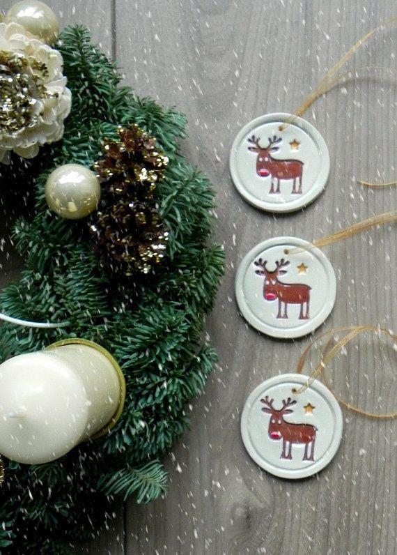 Ceramic Christmas Tree Deer Ornaments Rudolf Holiday Pottery