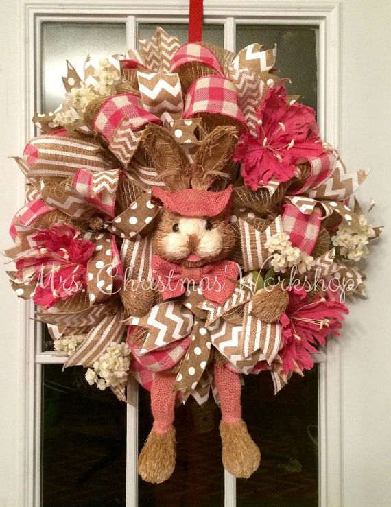 Burlap mesh Easter bunny wreath http://www.facebook.com/mrschristmasworkshop