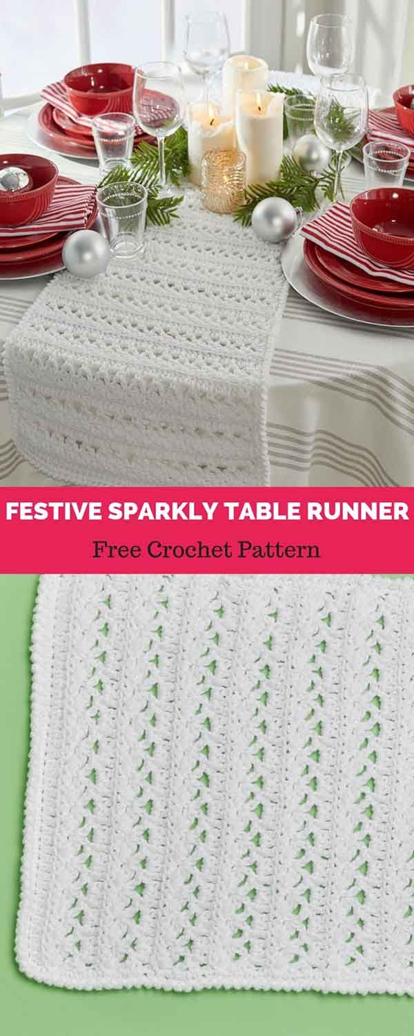 Festive Sparkly Table Runner [ FREE CROCHET PATTERN | Maggie\'s ...