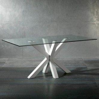 Table � manger en verre avec pi�tement bois laqu� Longueur 180cmBURNLEY