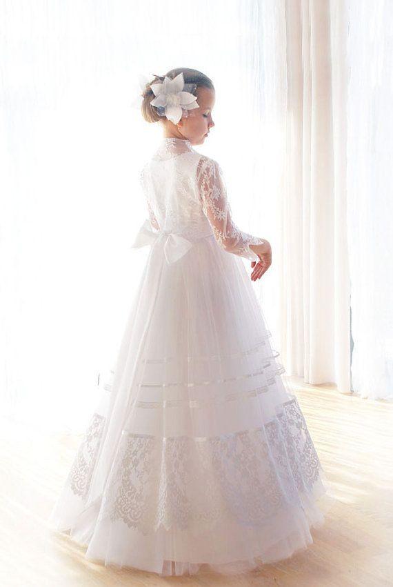 Communion dress-white communion dress-lace by MonikaVenika on Etsy