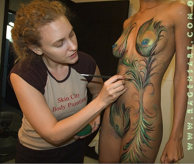 Tattoos And Body Art World: Peacock Feathers Body Paint Body Painting By Ragen