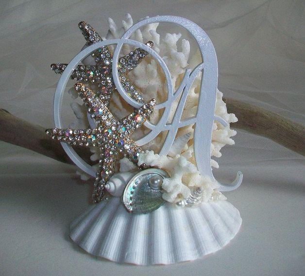 Custom Beach Theme Wedding Monogram Cake Topper, Jeweled Starfish Seashell Coral Cake Topper, Bridal Cake Decor by SeashellBeachDesigns on Etsy