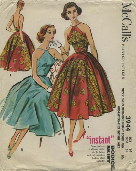 Vintage Sewing Pattern | McCall's 3944 | Year 1956 | Bust 34 | Waist 26 | Hip 36