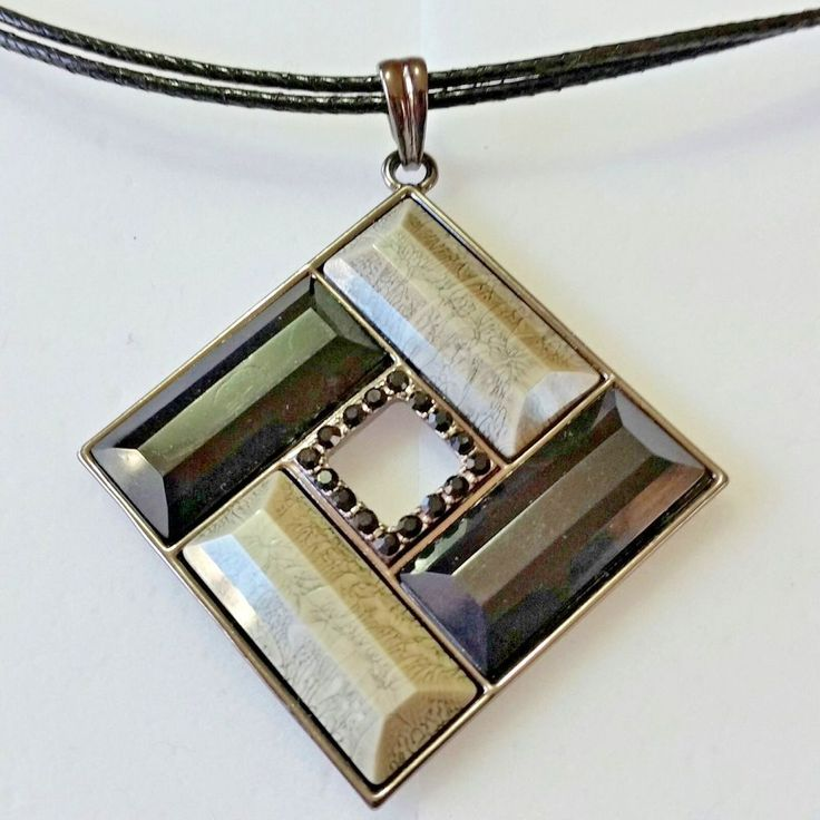 Lia Sophia Black Leather Necklace Square Black Gray Square Pendant  F216 #liasophia #Pendant