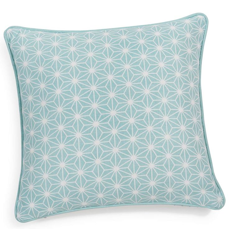 IVY cotton cushion cover in blue 40 x 40cm