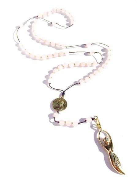 Bless yourself or someone you love with a healing rose quartz Heart Mala rosary bead necklace, personalized with a brass goddess pendant!  $54 online at heartmala.com   http://heartmala.com/rosary-beads/rose-quartz-rosary-beads-goddess-charm.html#