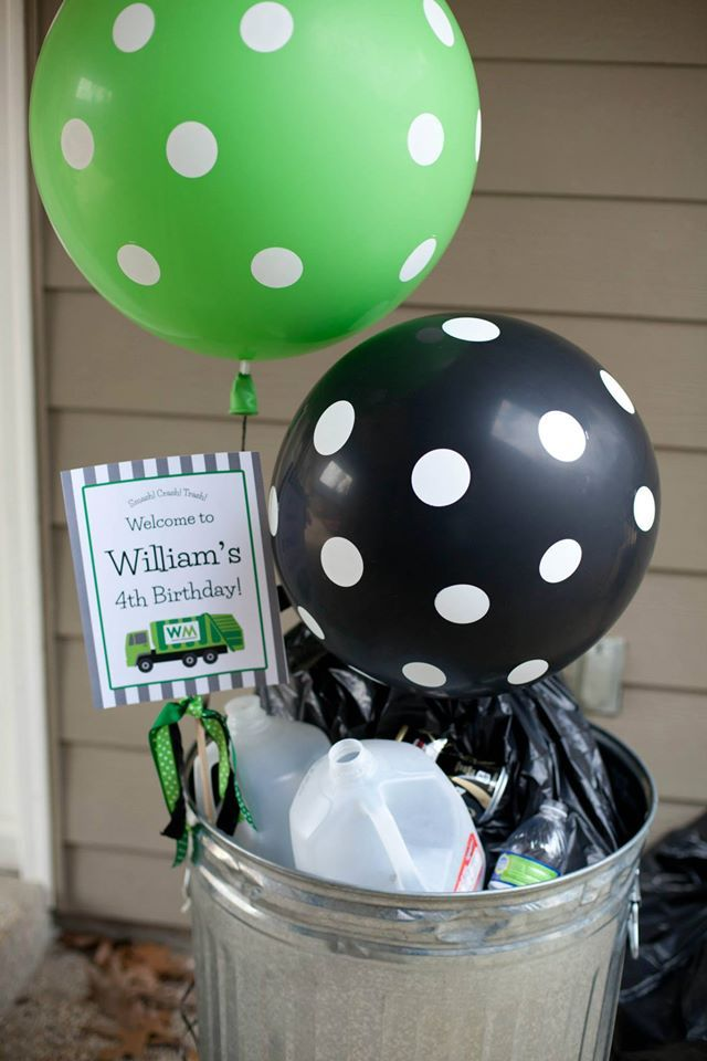 Garbage Truck Birthday from Everyday Party Magazine. Where trash cans become party décor!
