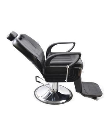 Black Hydraulic Reclining Barber Chair. This versatile reclining chair is appropriate for barbers, stylists and for use at a wash station.