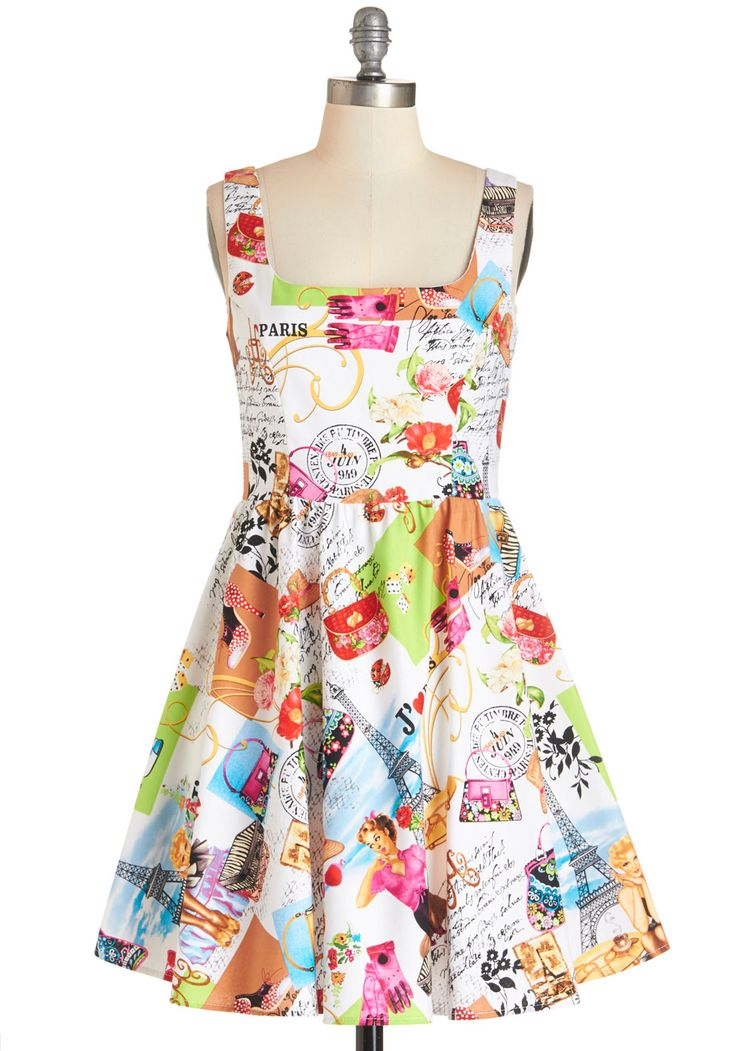 I Love You Paris Dress. From the Champs-lyses to Le Marais, you truly adore Paris  and your colorful A-line dress makes that love all the more evident when you return home.  #modcloth