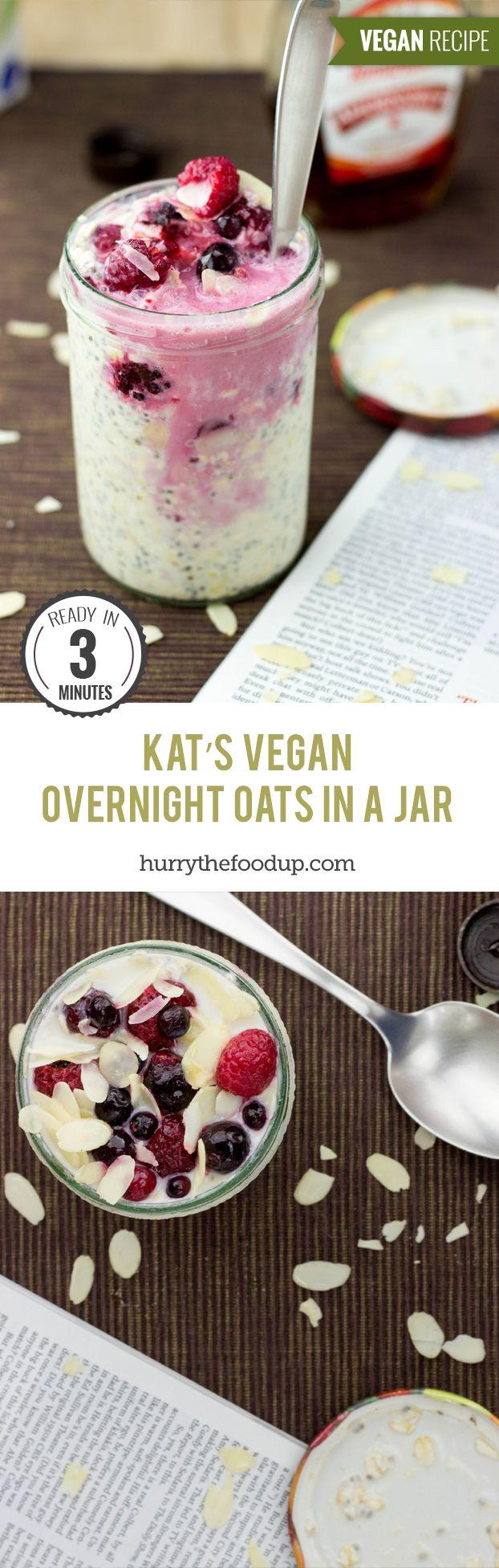 Kat's Vegan Overnight Oats in a Jar (3 Minutes) #oats #vegan | hurrythefoodup.com