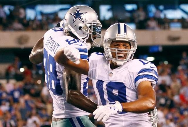 Dallas Cowboys receivers, Miles Austin and Dez Bryant celebrate Austin's 34-yard touchdown from QB Tony Romo. #NFL #Cowboys #Giants