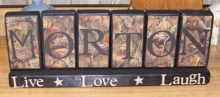 wooden name blocks Camo