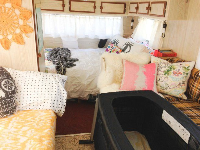 Original 1978 15ft Viscount Supreme retro caravan (camper) set up for camping with young family and baby.