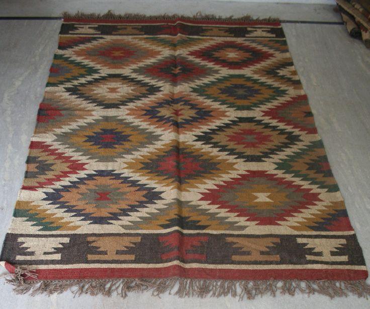 New Turkish Handmade Wool Jute Kilim Area Rug Carpet, Kilim Rug Dhurrie #Turkish