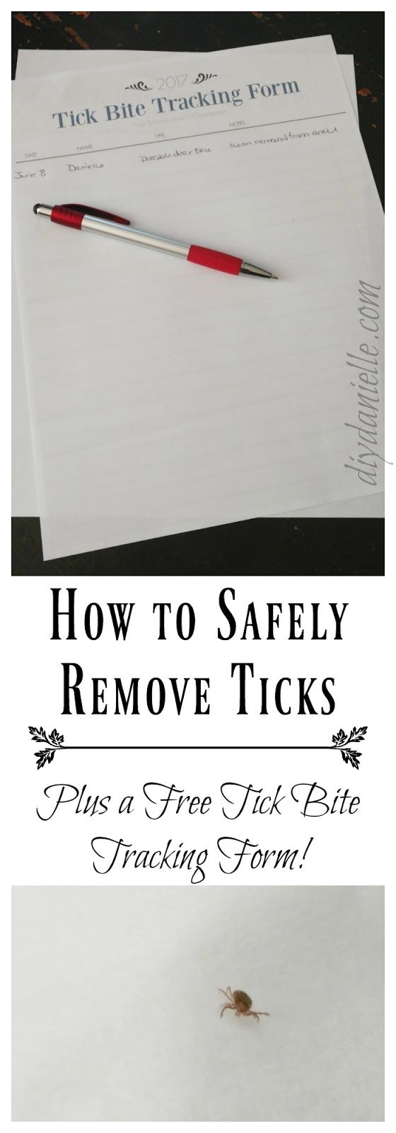 How to safely remove ticks, should ticks be tested, and how to prevent tick bites. Get a tick bite tracking printable!