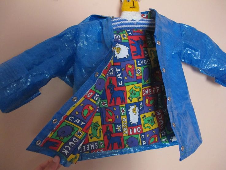 Kid's raincoat from Ikea bag. The bags cost less than a dollar. I love my IKEA bags, they are awesome for everything!